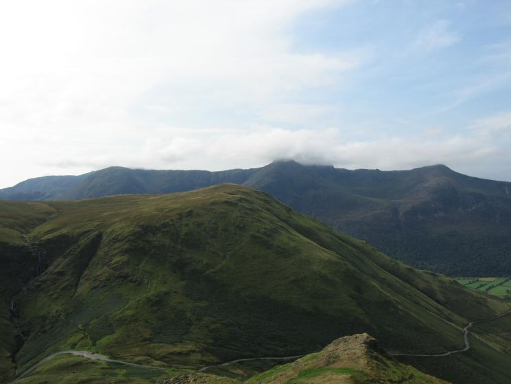 Looking over High Snockrigg to the High Stile ridge from the ascent of Knott Rigg with Newlands Hause bottom left