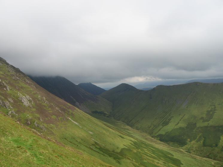 Causey Pike, Ard Crags and the valley of Sail Beck from the descent off Whitless Pike