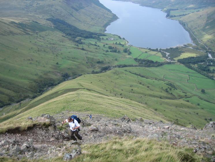 Looking back down Lingmell's west ridge