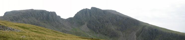 Scafell Pike and Scafell connected by Mickledore