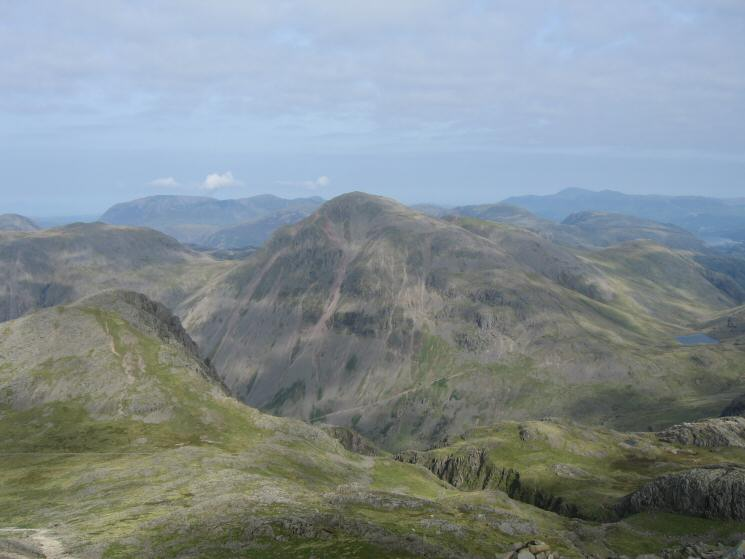 Great Gable, Lingmell on the left and Styhead Tarn on the right from our route up Scafell Pike