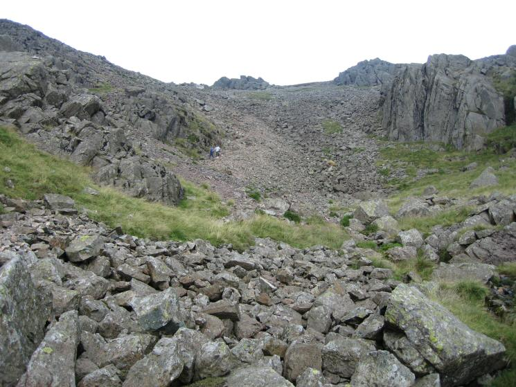 Anne and David can just be seen descending the scree slope from Mickledore