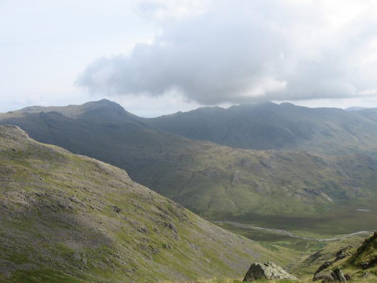 Bowfell and Crinkle Crags with Great Moss far below