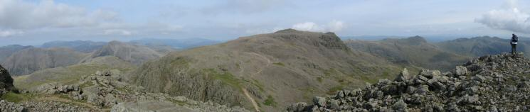 Kirk Fell, Great Gable, Scafell Pike, Bowfell and Crinkle Crags from the top of Broad Stand