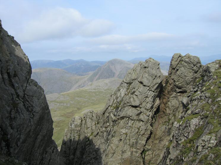 Scafell Pinnacle with Great Gable beyond from the top of Deep Gill
