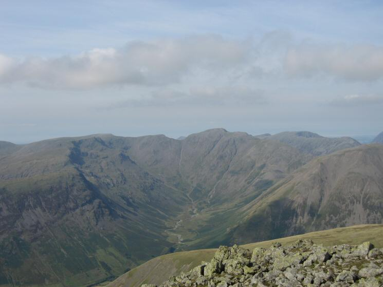 Mosedale with Pillar at its head from Scafell's summit