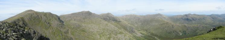Scafell, Scafell Pike, Ill Crag, Esk Pike, Bowfell and Crinkle Crags from Long Green