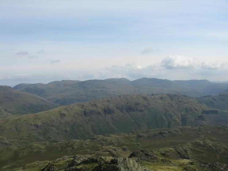 Looking over Hard Knott to the Coniston Fells from Slight Side's summit