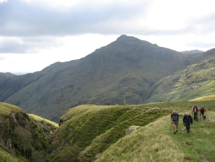 Heading up by the side of Hell Gill with Pike o' Blisco behind