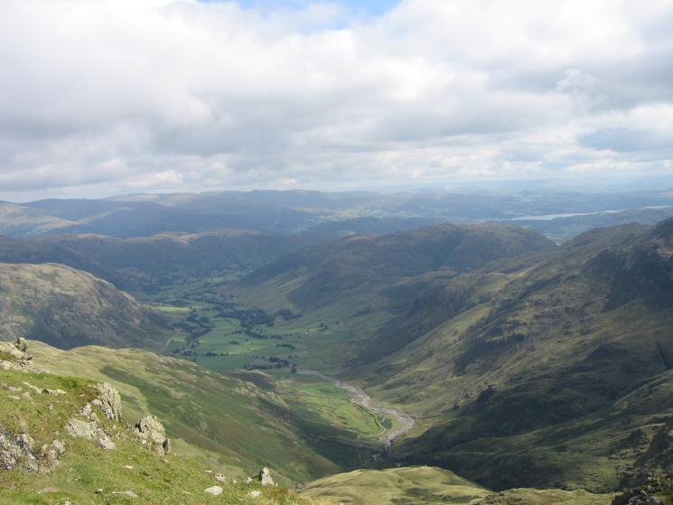 Looking down into Great Langdale from Crinkle Crags