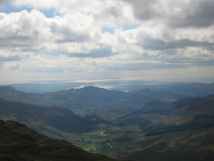 Looking south down the Duddon Valley to Morecambe Bay from Long Top (the highest Crinkle)