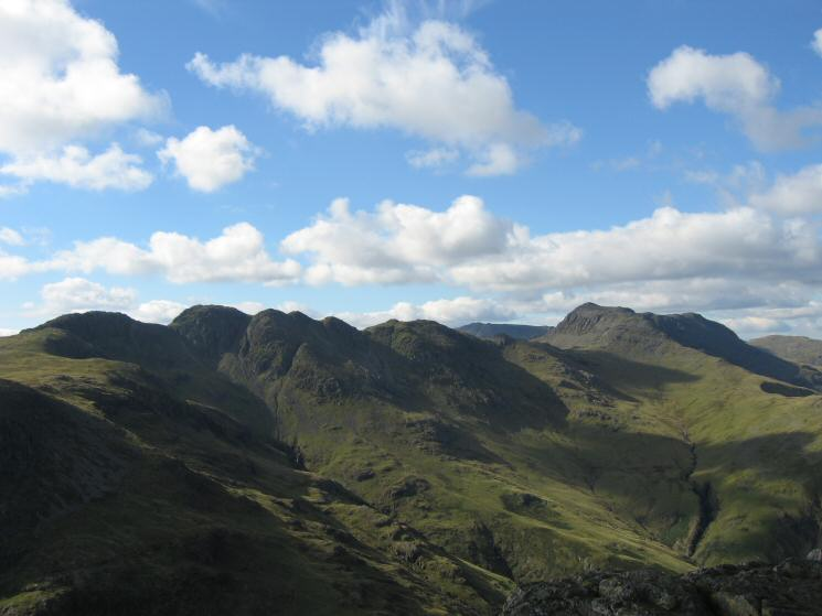 Crinkle Crags and Bowfell from Pike o' Blisco's summit