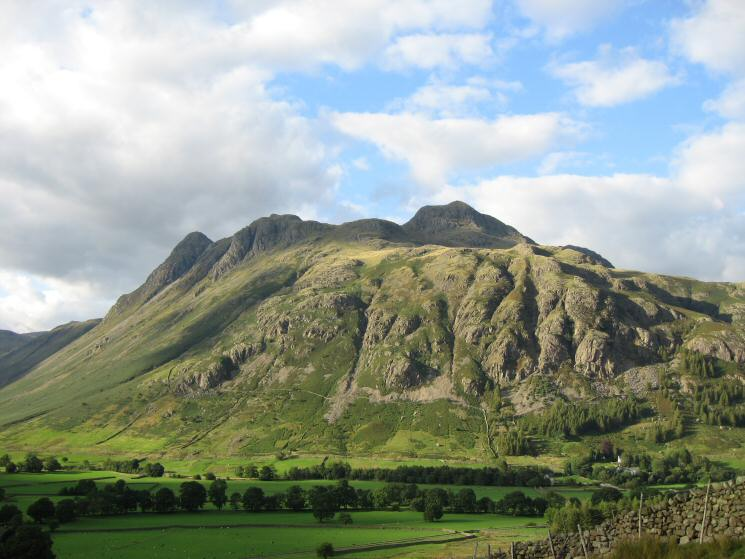 The Langdale Pikes from above Wall End Farm