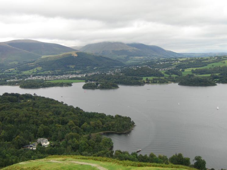 Derwent Water, Keswick and a cloud covered Blencathra from the route up Skelgill Bank