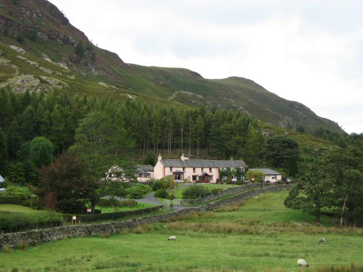 The pink cottages at Manesty