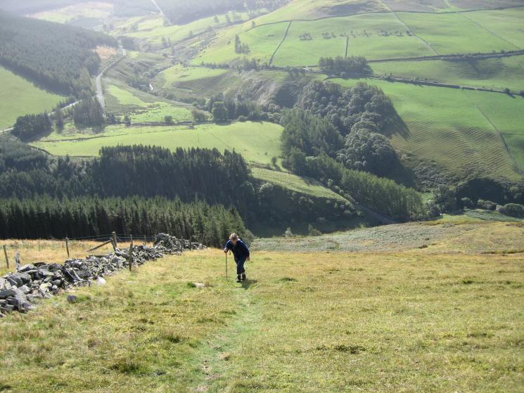 Looking back down the steep path to Graystones summit, Scawgill Bridge can just be made out middle right