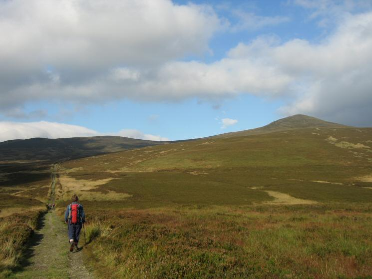 Heading along part of the Cumbria Way with Great Calva on the right