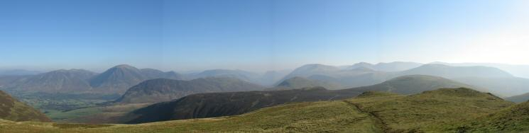 South easterly panorama from Blake Fell's summit