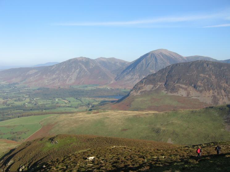 Whiteside, Hopegill Head, Grasmoor and Mellbreak's north top from Gavel Fell's northeast ridge