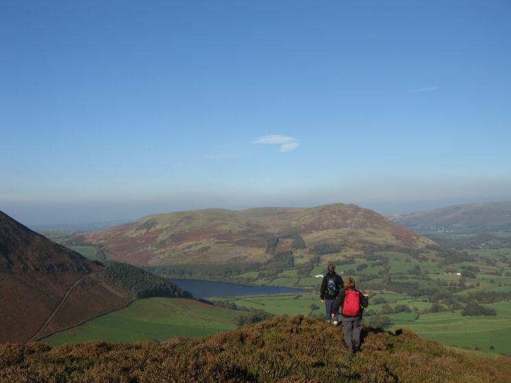 Descending Gavel Fell's northeast ridge with Loweswater, Darling Fell and Low Fell in front