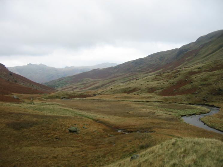 Looking back down Deepdale with Angletarn Pikes on the skyline