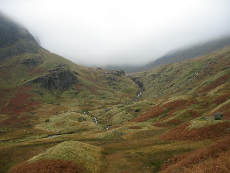 Our route took a path on the right of the waterfalls, Deepdale Hause is somewhere up there in the cloud