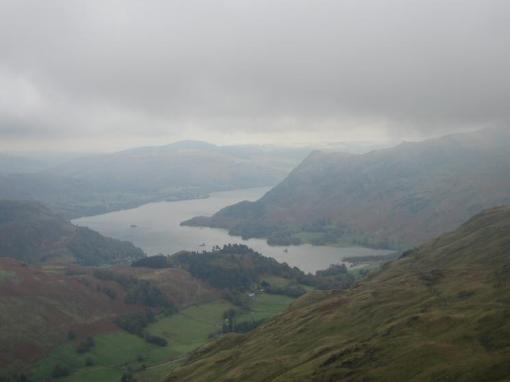 Ullswater appears as we drop below the cloud again descending from Saint Sunday Crag's summit