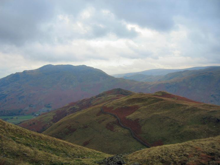 Arnison Crag with Place Fell behind from above Trough Head