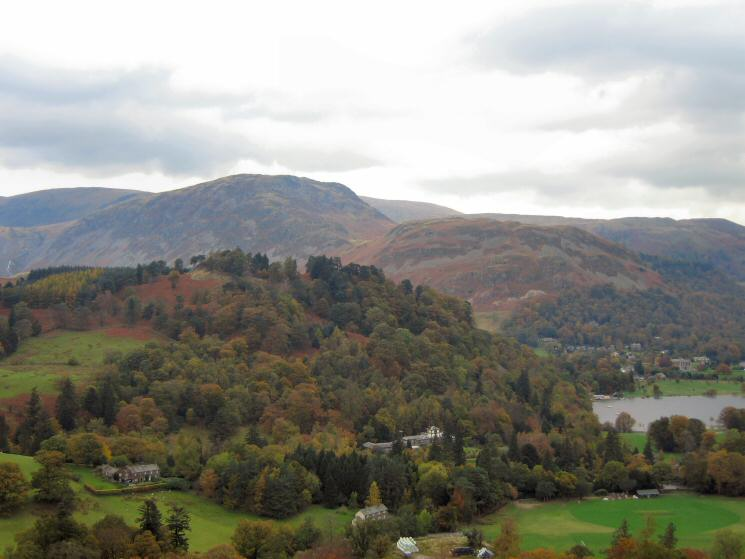 The wooded Keldas with Sheffield Pike and Glenridding Dodd behind