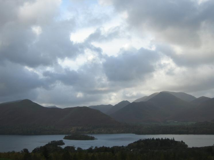 Looking across Derwent Water to Catbells and Causey Pike from below Rakefoot