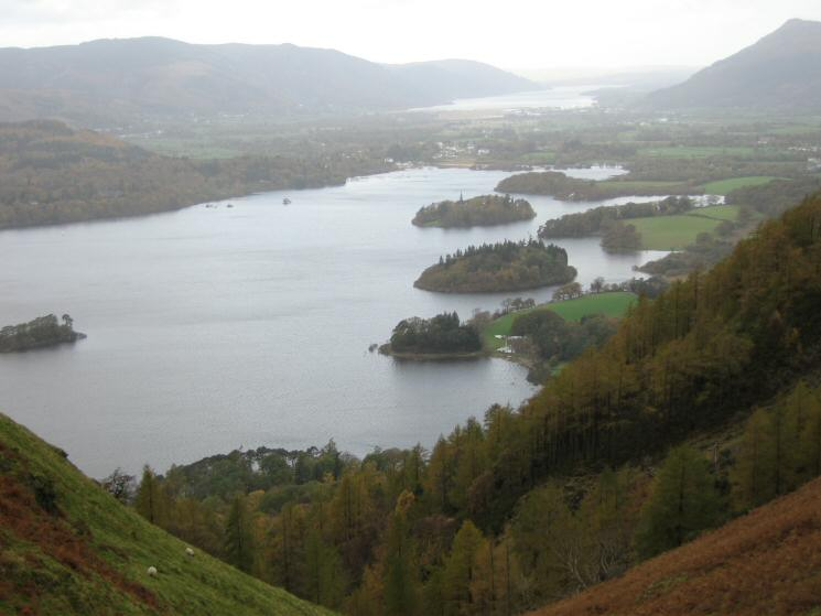 Derwent Water with Bassenthwaite Lake beyond from the top of Cat Gill