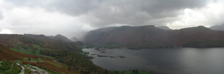 Head of Derwent Water panorama from above Falcon Crag