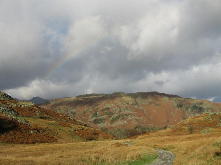 Lingmoor Fell with Harrison Stickle in shadow on the far left