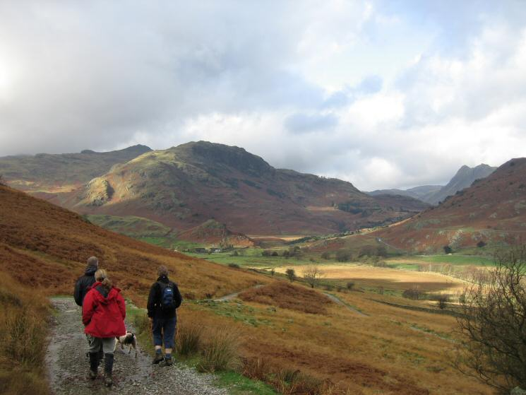 Descending into Little Langdale with Pike O' Blisco and Blake Rigg ahead