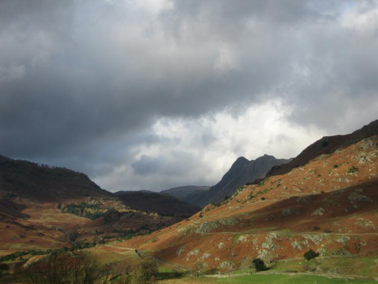 Looking through the Blea Tarn gap to the Langdale Pikes