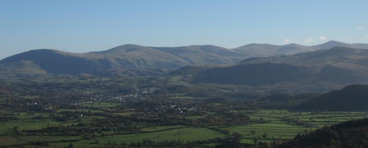 Looking over the Vale of Keswick to the Helvellyn ridge