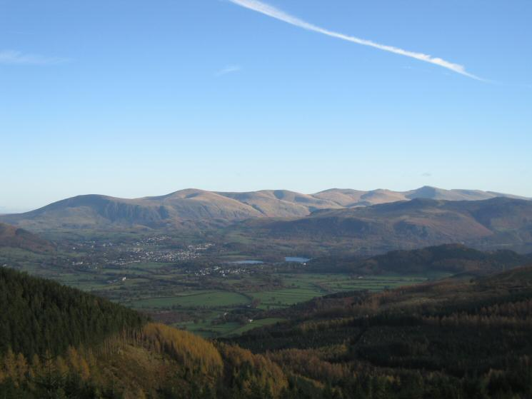 Keswick and the Helvellyn ridge from Whinlatter Forest