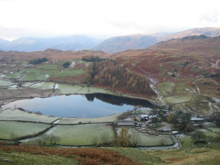 Looking back down on Watendlath from the path up High Tove
