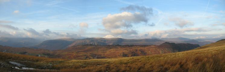 The view west over Grange Fell to the High Spy ridge from High Tove