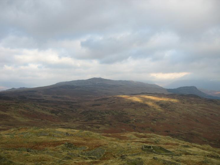 High Seat, a touch of sun on Armboth Fell with Raven Crag behind from Bell Crags' summit