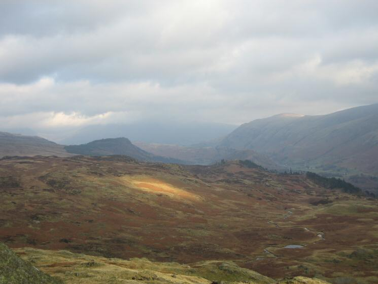 Raven Crag from Bell Crags with Launchy Gill Tarn bottom right