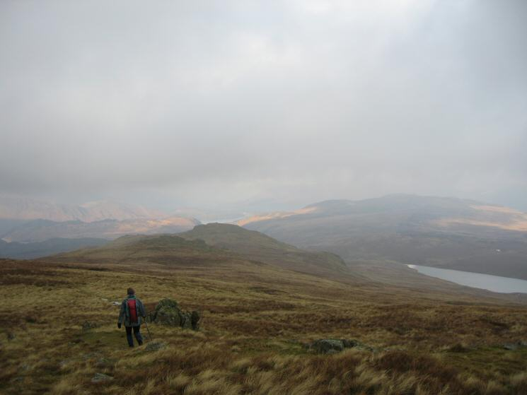 Heading for High Saddle with Low Saddle beyond and Blea Tarn on the right