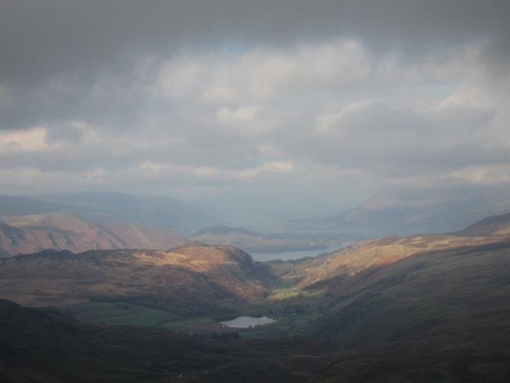 Watendlath Tarn with Derwent Water beyond from between High Saddle and Low Saddle