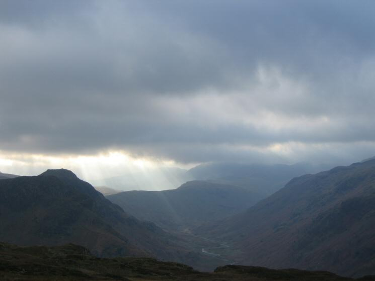 Langstrath with Eagle Crag and Sergeant's Crag on the left and the slopes of Rosthwaite Fell on the right