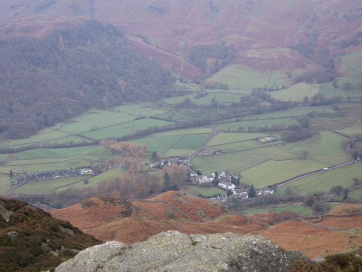 Looking down on Rosthwaite from Great Crag