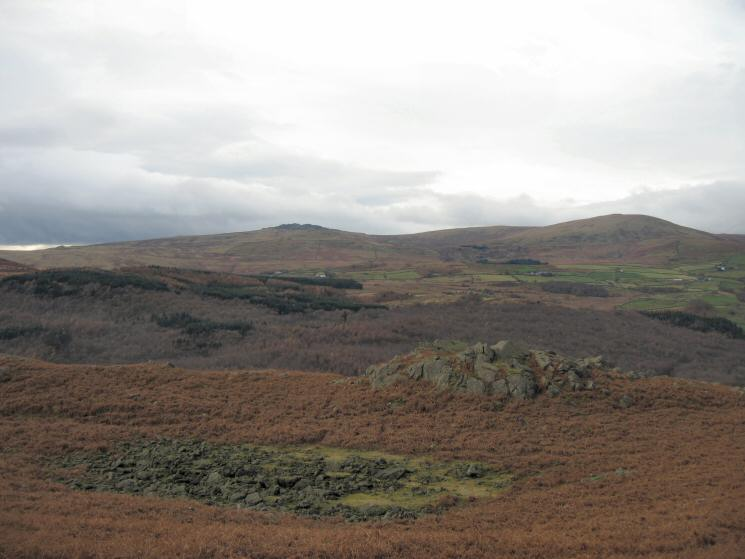 Looking over Wainwright's bouldery Tarn (dry) to Buck Barrow and Whitfell