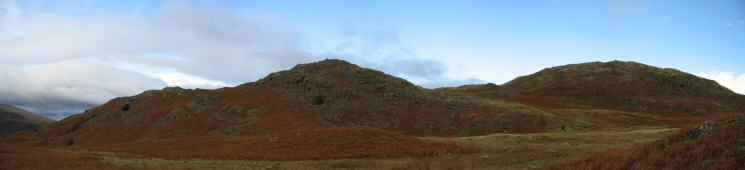 The Dunnerdale Fells ahead with the top we visited in the middle. Great Stickle on the right