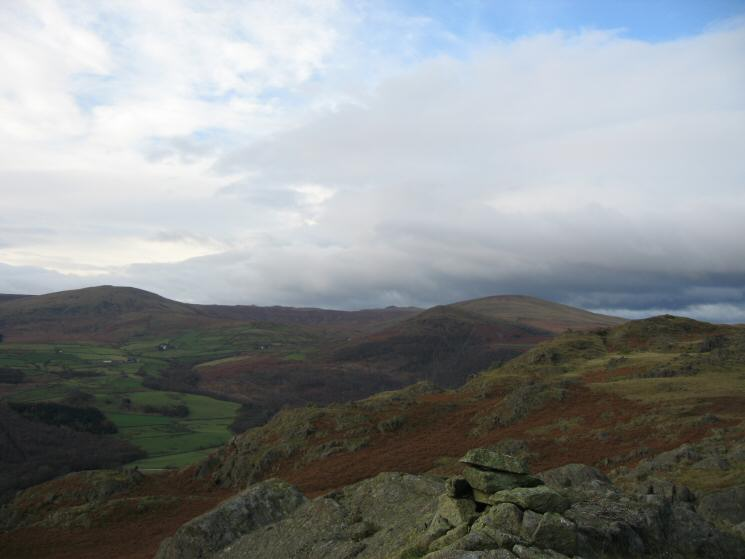 Whitfell on the left and The Pike with Hesk Fell behind right of centre