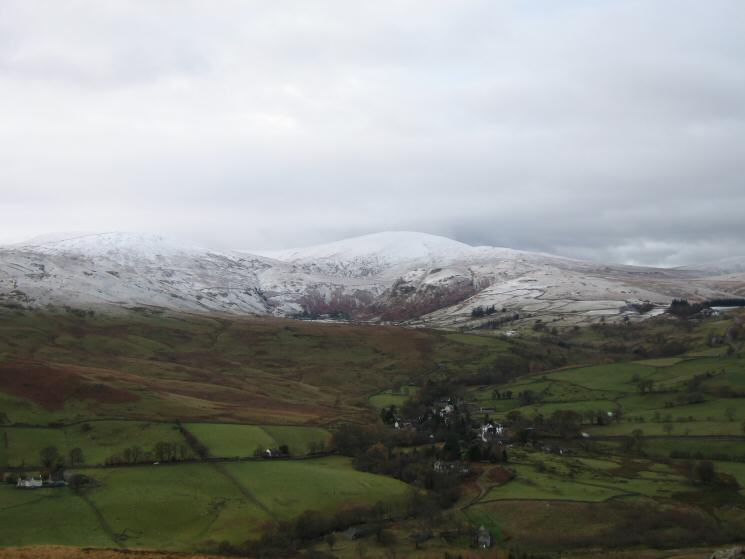 Looking over Dockray to a snowy Great Dodd