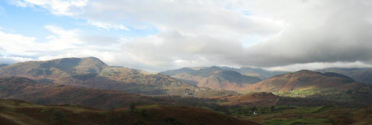 Wetherlam and the Langdale Fells from Black Crag